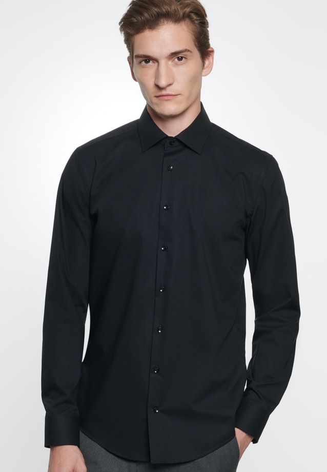 Non-iron Popeline Business Shirt in Slim with Kent-Collar in Black |  Seidensticker Onlineshop
