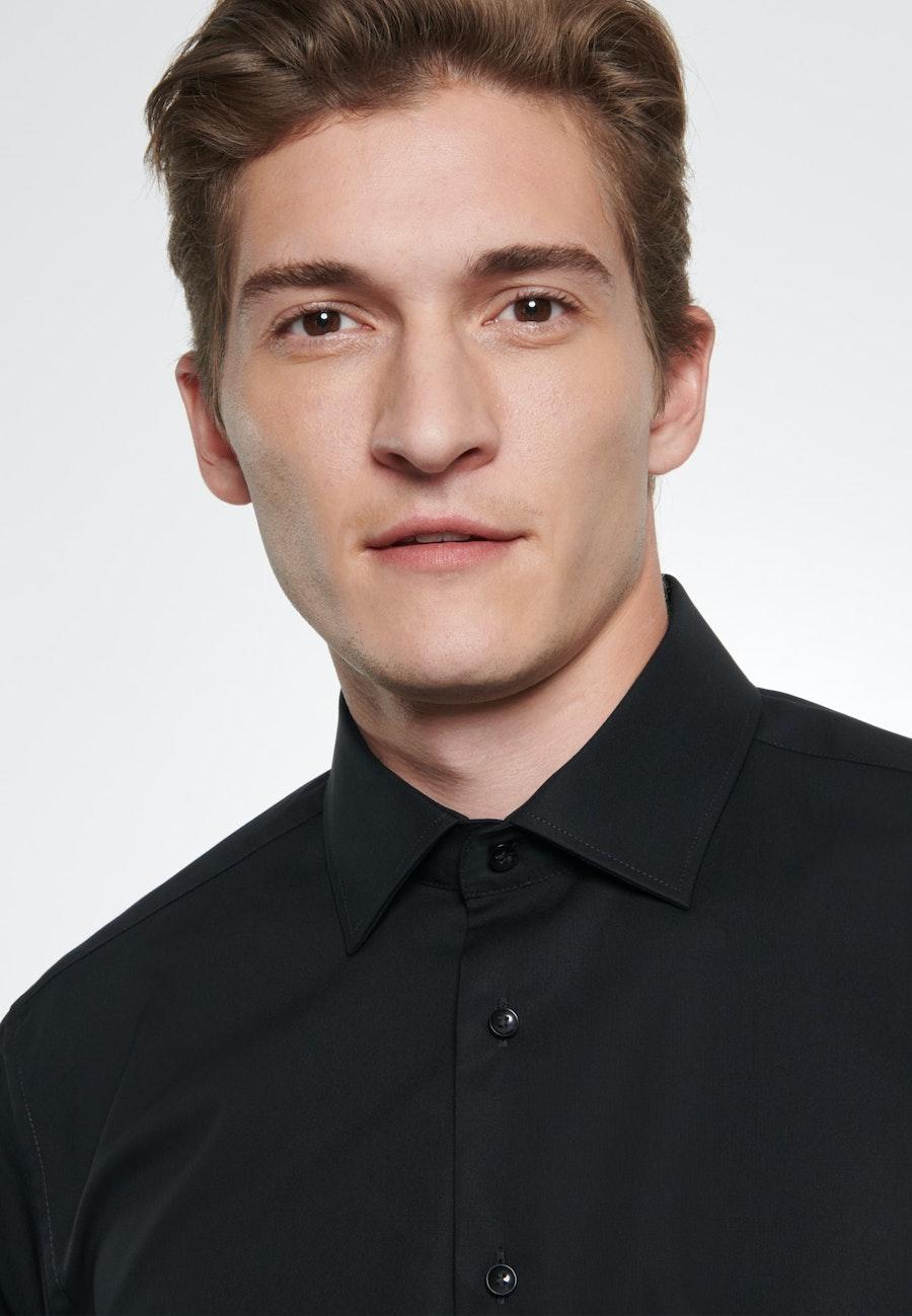 Non-iron Popeline Business Shirt in Slim with Kent-Collar in Black |  Seidensticker Onlineshop