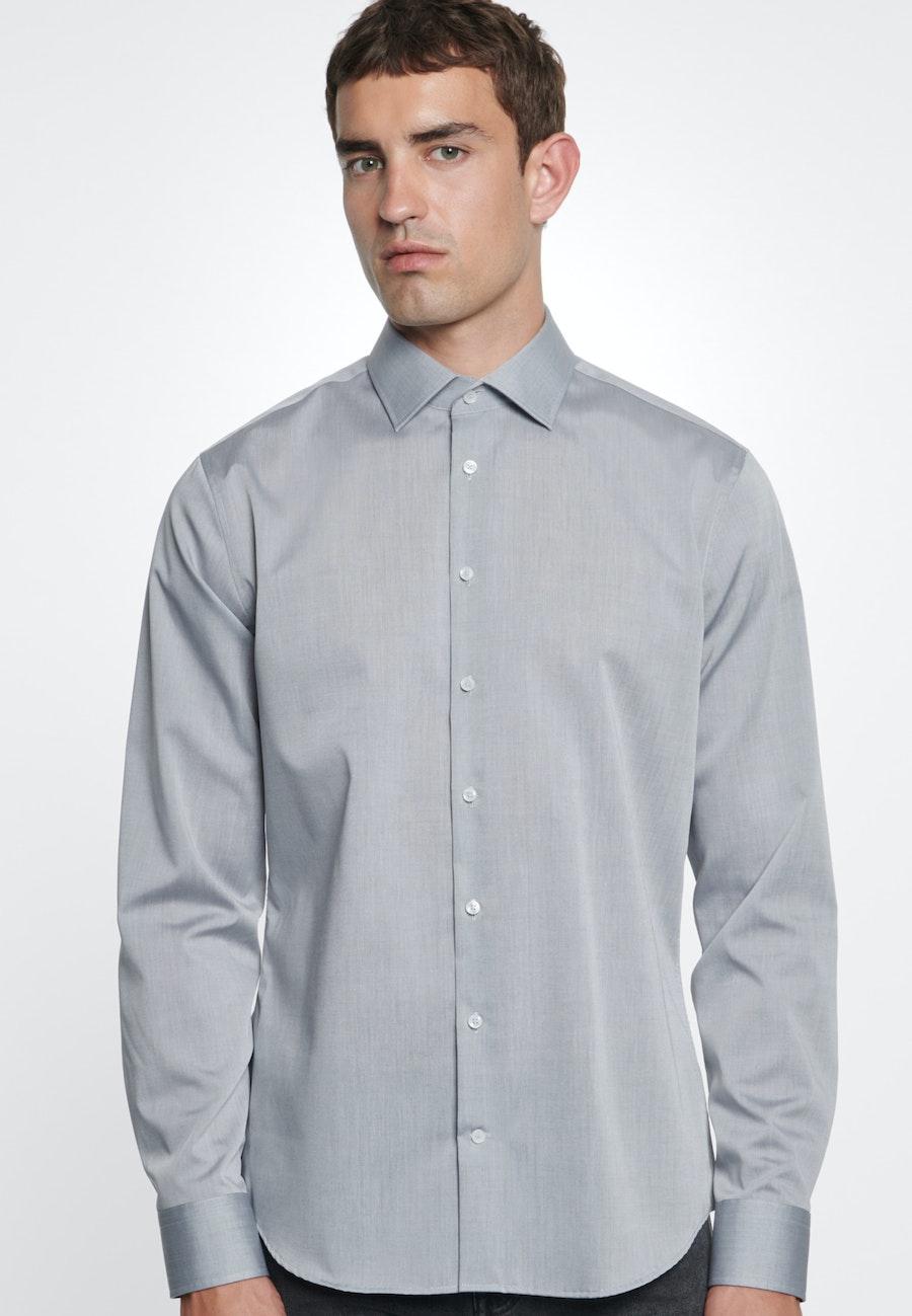 Non-iron Poplin Business Shirt in Slim with Kent-Collar in Grau |  Seidensticker Onlineshop
