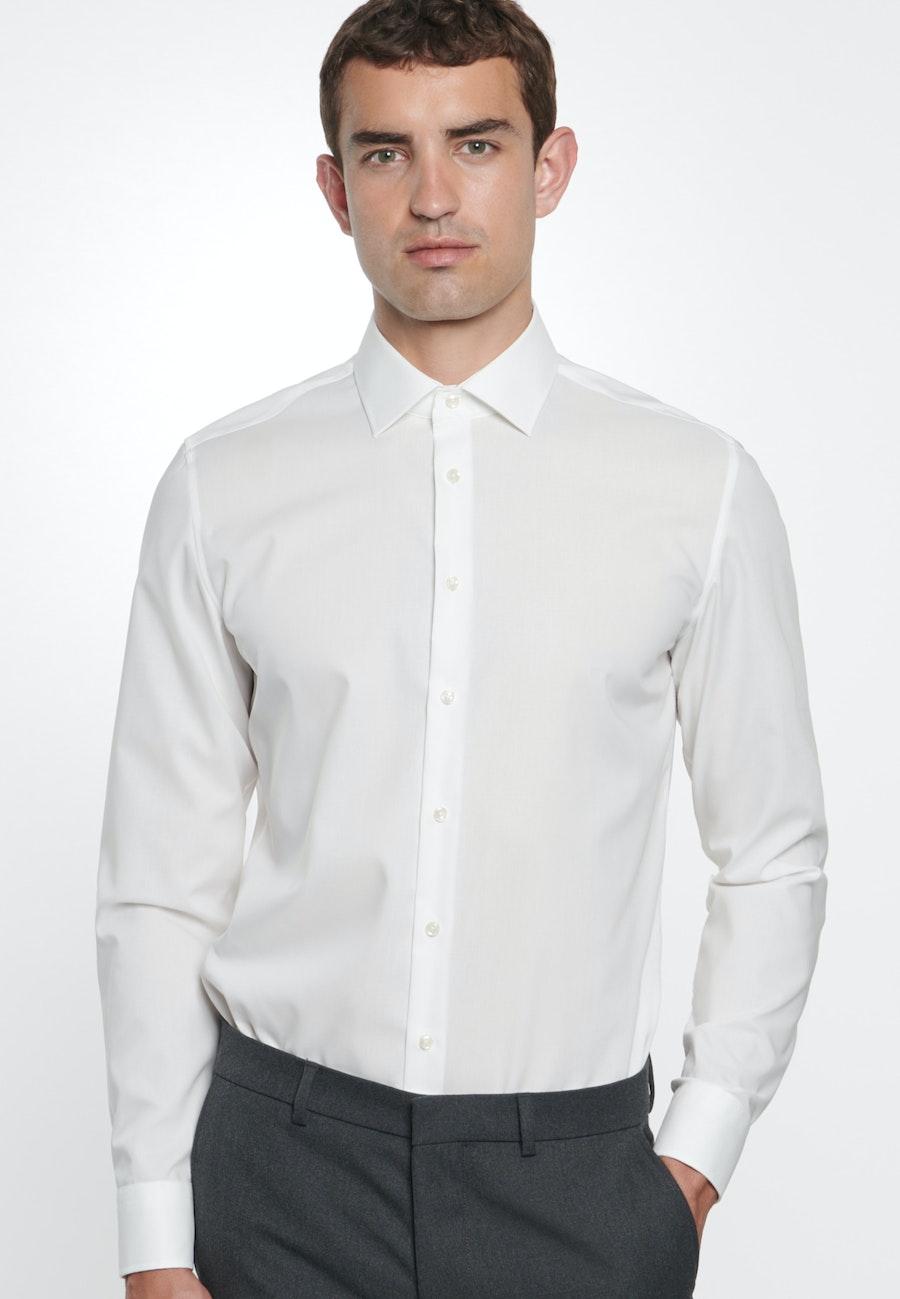 Non-iron Popeline Business Shirt in Slim with Kent-Collar in Ecru |  Seidensticker Onlineshop