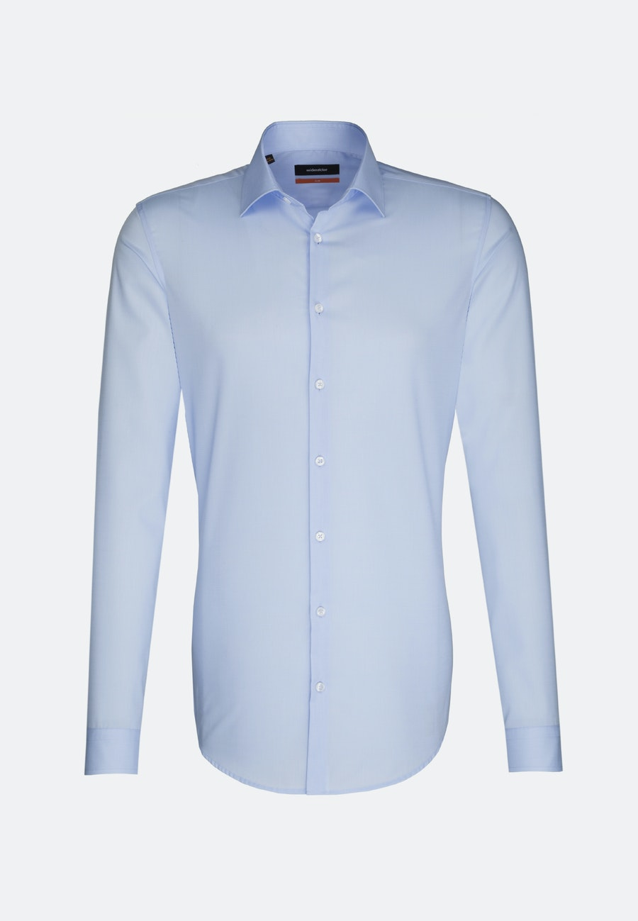 Non-iron Popeline Business Shirt in Slim with Kent-Collar and extra long sleeve in Hellblau |  Seidensticker Onlineshop