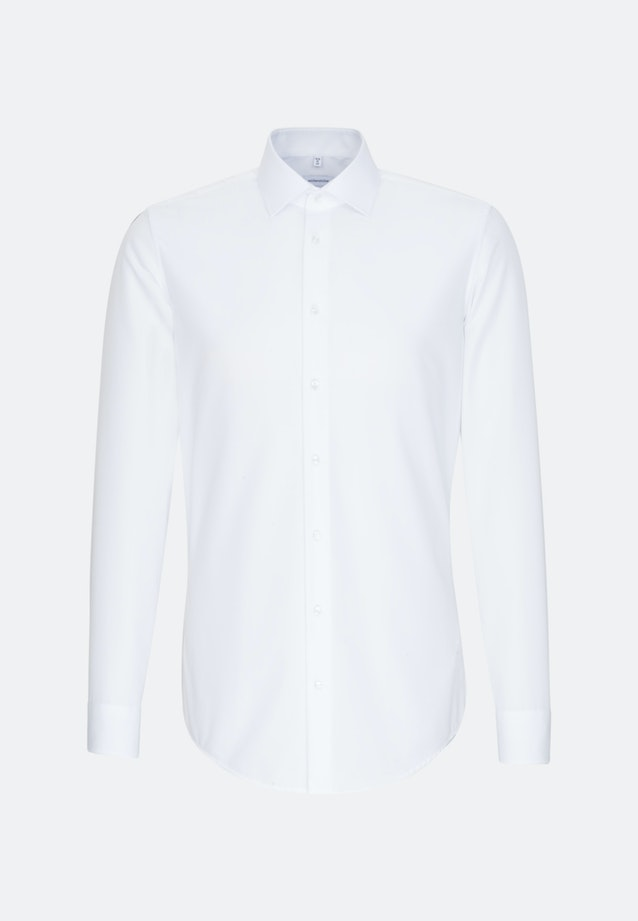 Non-iron Popeline Business Shirt in Slim with Kent-Collar and extra long sleeve in White    Seidensticker Onlineshop