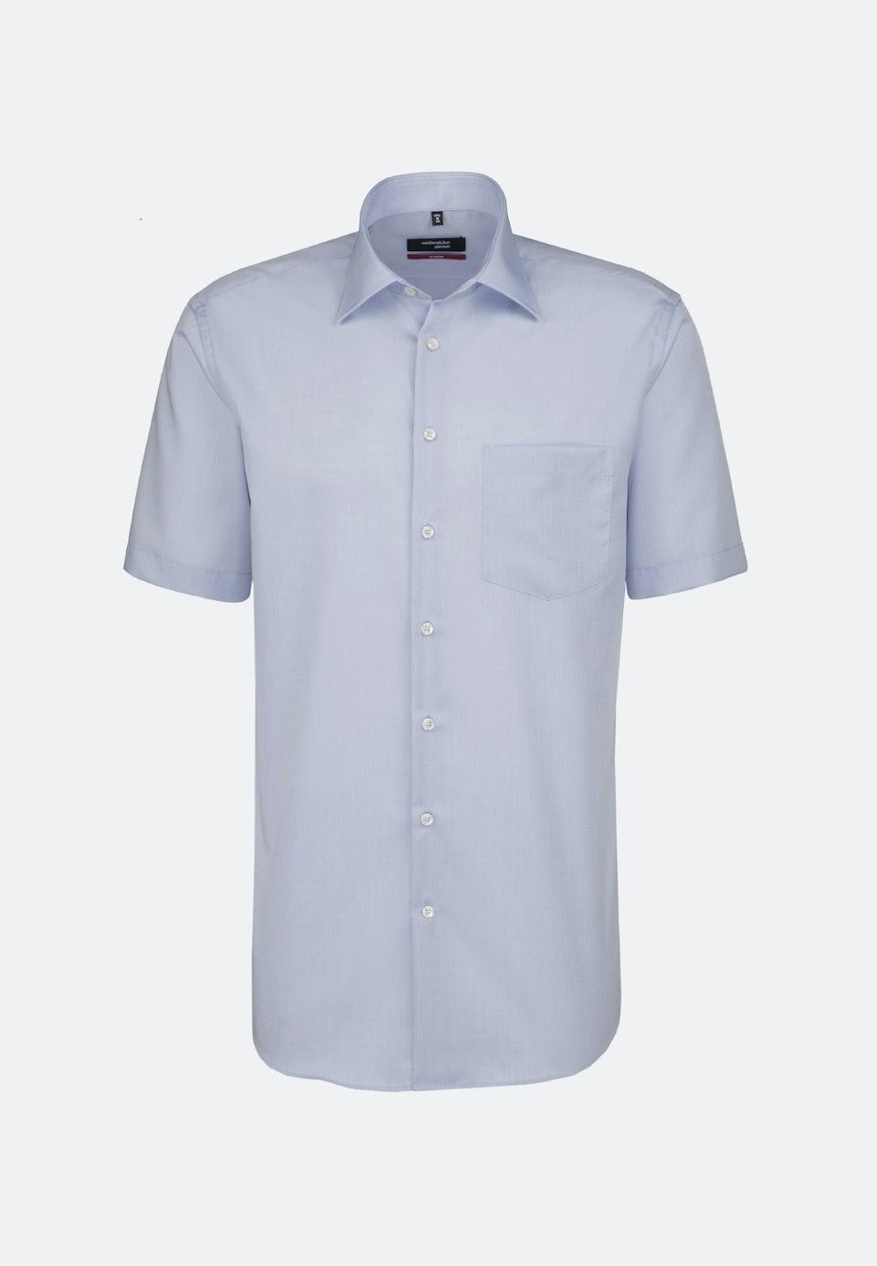 Non-iron Chambray Short sleeve Business Shirt in Regular with Kent-Collar in Medium blue |  Seidensticker Onlineshop