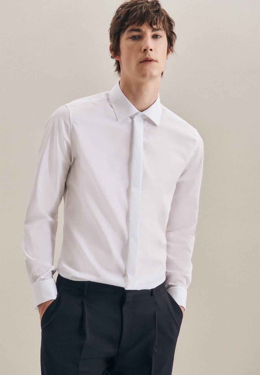 Bügelfreies Popeline Smokinghemd in Slim mit Kentkragen in Weiß    Seidensticker Onlineshop