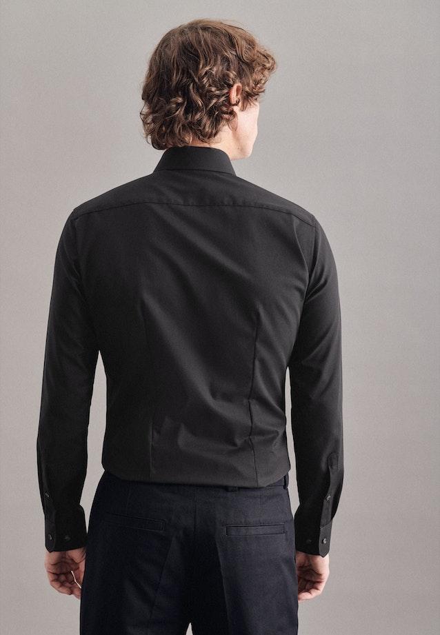 Bügelfreies Fil a fil Business Hemd in X-Slim mit Kentkragen in Schwarz |  Seidensticker Onlineshop