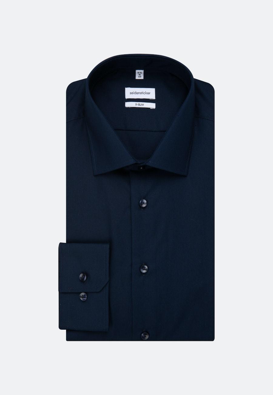 Non-iron Fil a fil Business Shirt in X-Slim with Kent-Collar in Dark blue    Seidensticker Onlineshop