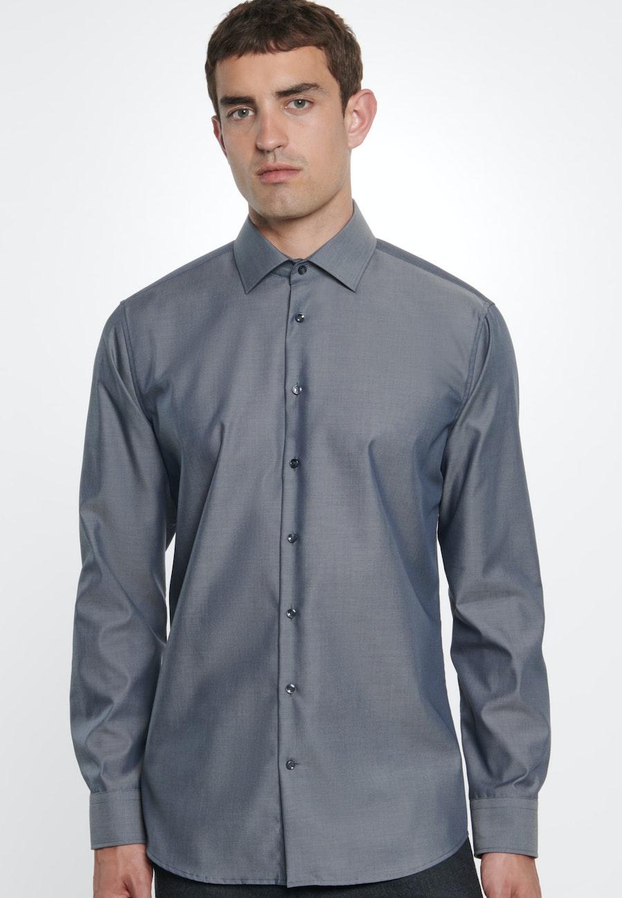 Bügelfreies Fil a fil Business Hemd in Shaped mit Kentkragen in Grau    Seidensticker Onlineshop