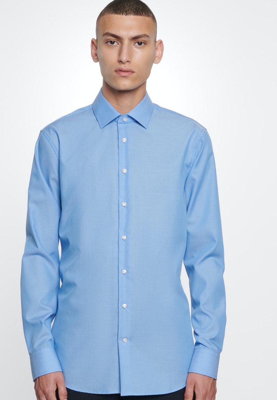 Non-iron Fil a fil Business Shirt in Shaped with Kent-Collar in Medium blue |  Seidensticker Onlineshop