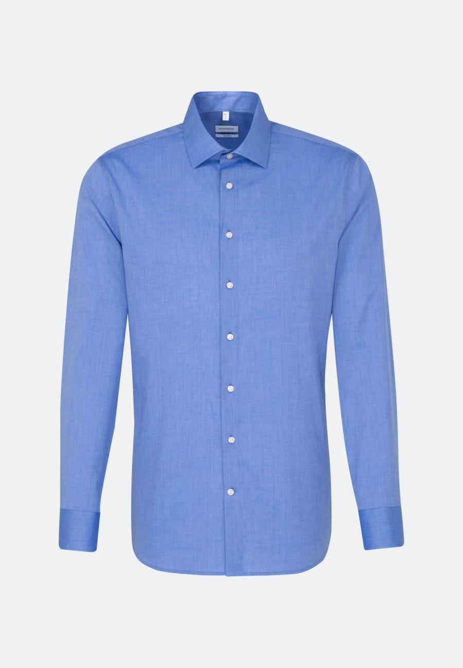 Bügelfreies Fil a fil Business Hemd in Shaped mit Kentkragen in Mittelblau    Seidensticker Onlineshop