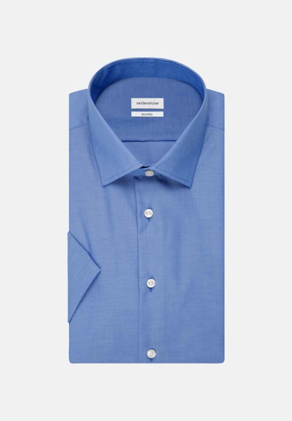 Bügelfreies Fil a fil Kurzarm Business Hemd in Shaped mit Kentkragen in Mittelblau |  Seidensticker Onlineshop