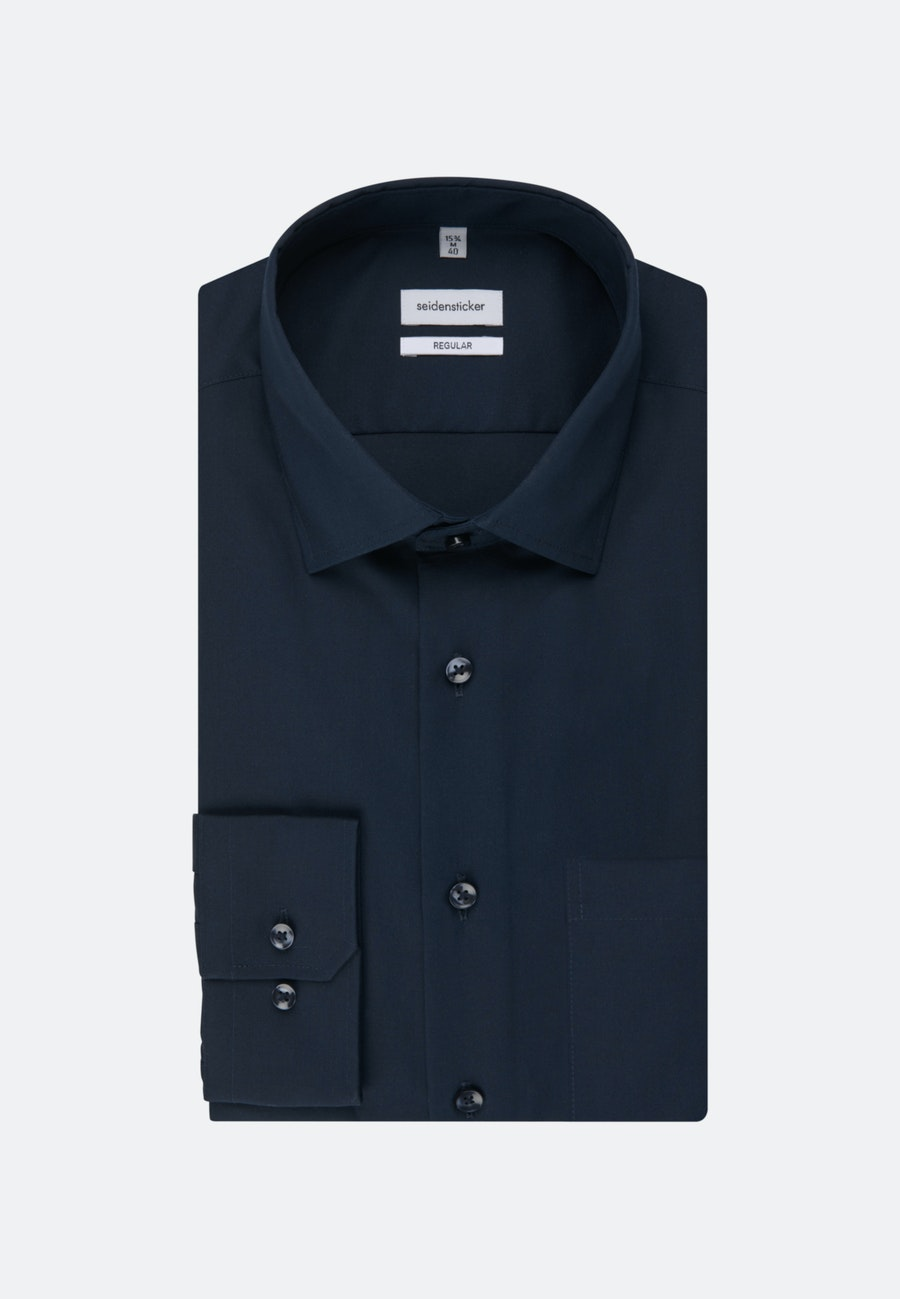 Non-iron Poplin Business Shirt in Regular with Kent-Collar in Dark blue |  Seidensticker Onlineshop