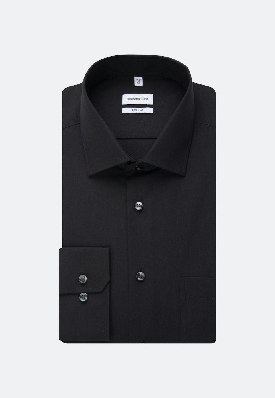 Non-iron Poplin Business Shirt in Regular with Kent-Collar in Black |  Seidensticker Onlineshop