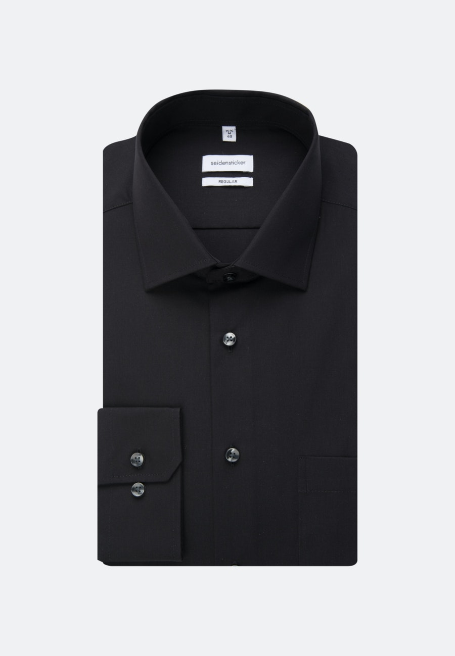 Non-iron Popeline Business Shirt in Regular with Kent-Collar in Black |  Seidensticker Onlineshop