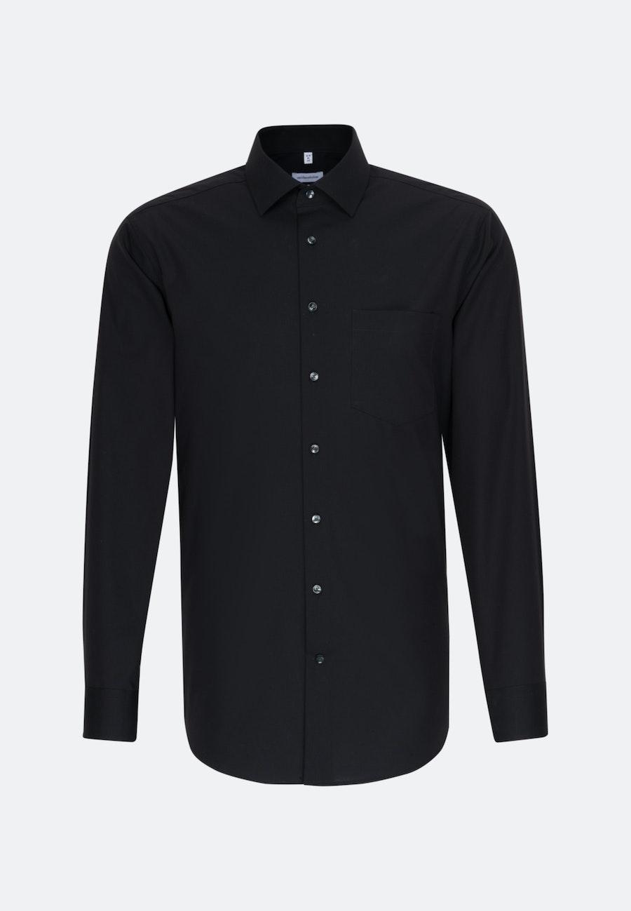 Bügelfreies Popeline Business Hemd in Regular mit Kentkragen in Schwarz    Seidensticker Onlineshop