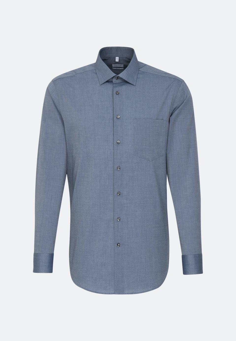 Non-iron Fil a fil Business Shirt in Regular with Kent-Collar in Dark blue    Seidensticker Onlineshop