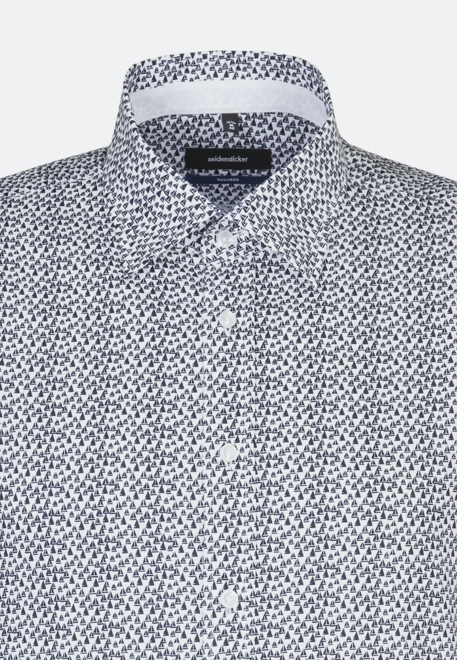 Bügelleichtes Popeline Business Hemd in Shaped mit Covered-Button-Down-Kragen in Mittelblau |  Seidensticker Onlineshop