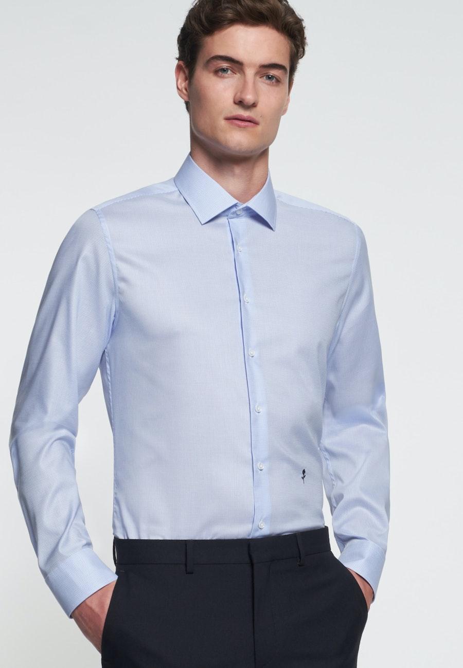 Bügelfreies Twill Business Hemd in Slim mit Kentkragen in Mittelblau |  Seidensticker Onlineshop