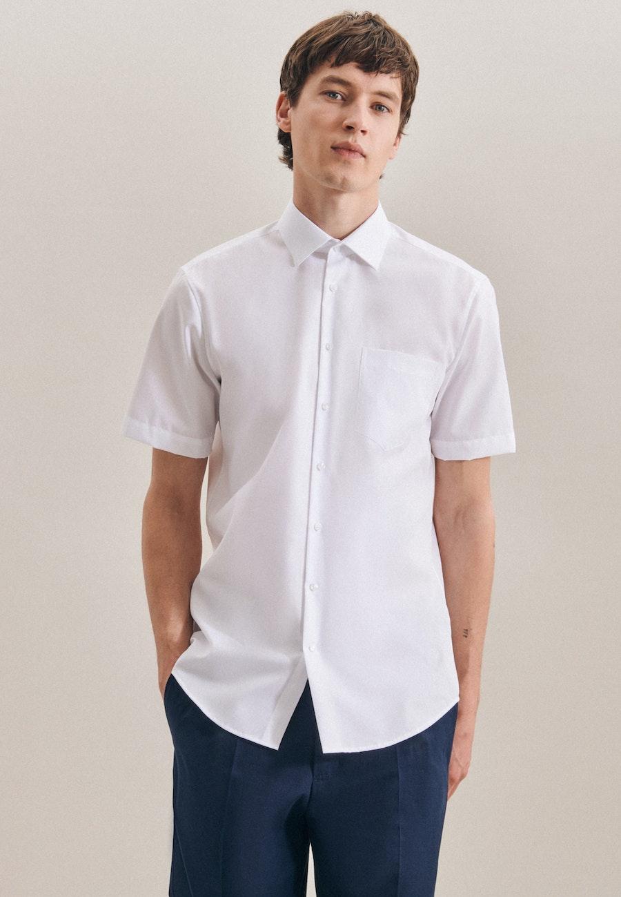 Non-iron Fil a fil Short sleeve Business Shirt in Regular with Kent-Collar in White |  Seidensticker Onlineshop