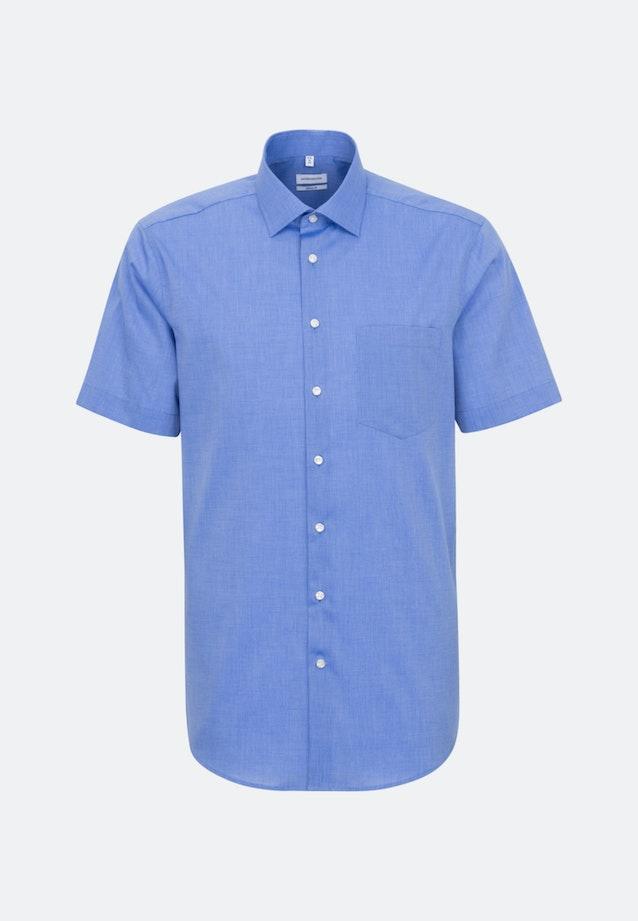 Non-iron Fil a fil Short sleeve Business Shirt in Regular with Kent-Collar in Medium blue    Seidensticker Onlineshop