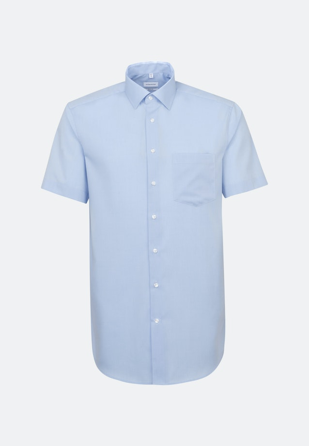 Bügelfreies Fil a fil Kurzarm Business Hemd in Regular mit Kentkragen in Hellblau |  Seidensticker Onlineshop