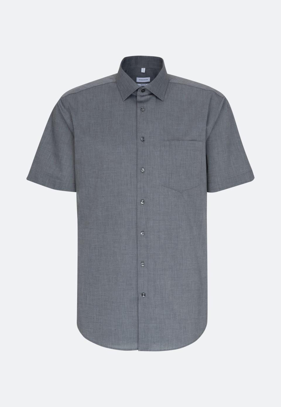 Bügelfreies Fil a fil Kurzarm Business Hemd in Regular mit Kentkragen in Grau |  Seidensticker Onlineshop