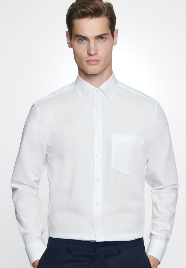 Non-iron Popeline Business Shirt in Regular with Button-Down-Collar in White |  Seidensticker Onlineshop