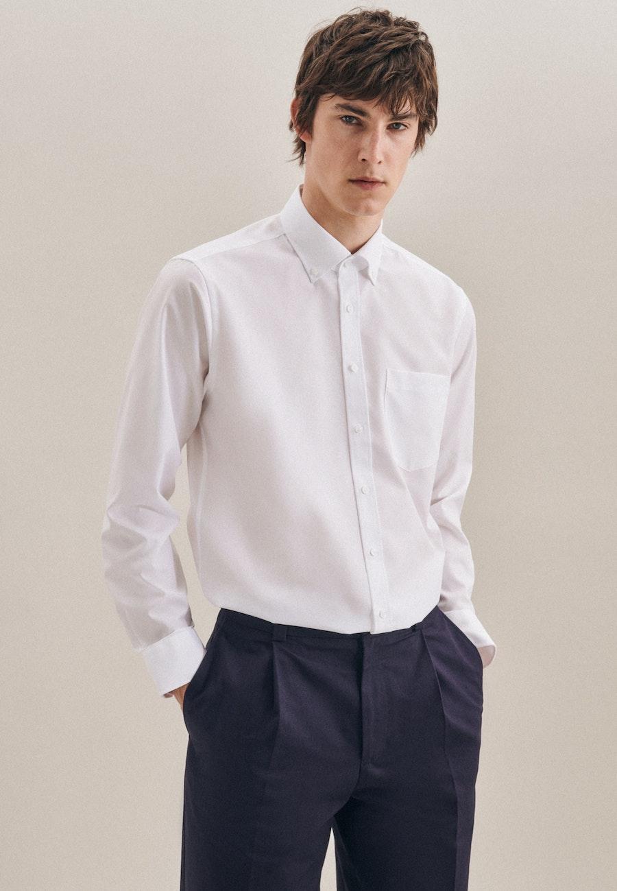 Non-iron Poplin Business Shirt in Regular with Button-Down-Collar in White |  Seidensticker Onlineshop