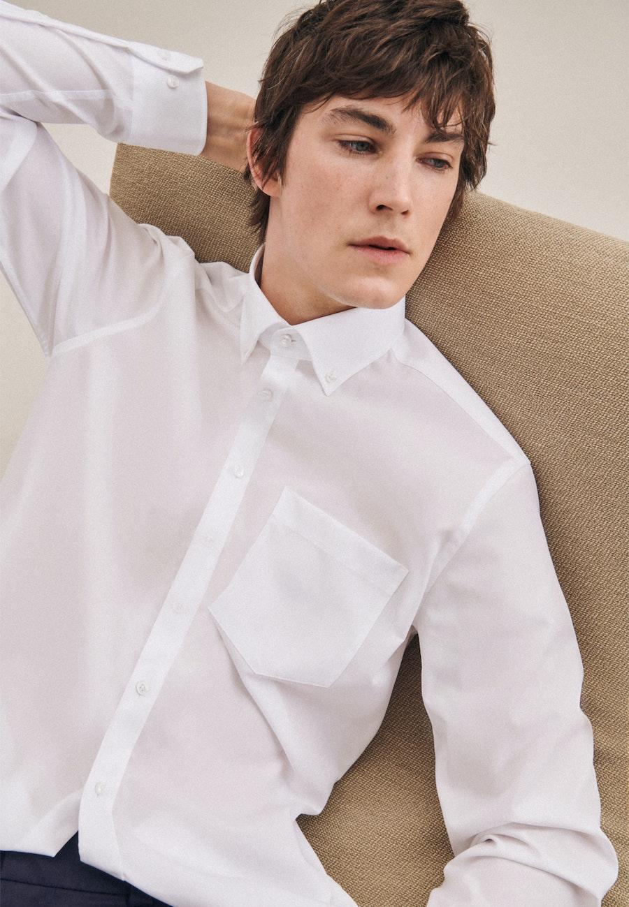 Bügelfreies Popeline Business Hemd in Regular mit Button-Down-Kragen in Weiß |  Seidensticker Onlineshop