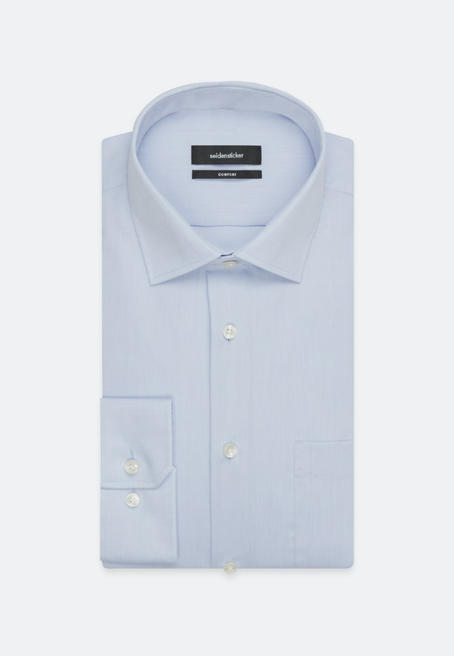 Non-iron Chambray Business Shirt in Comfort with Kent-Collar and extra long sleeve in Medium blue    Seidensticker Onlineshop