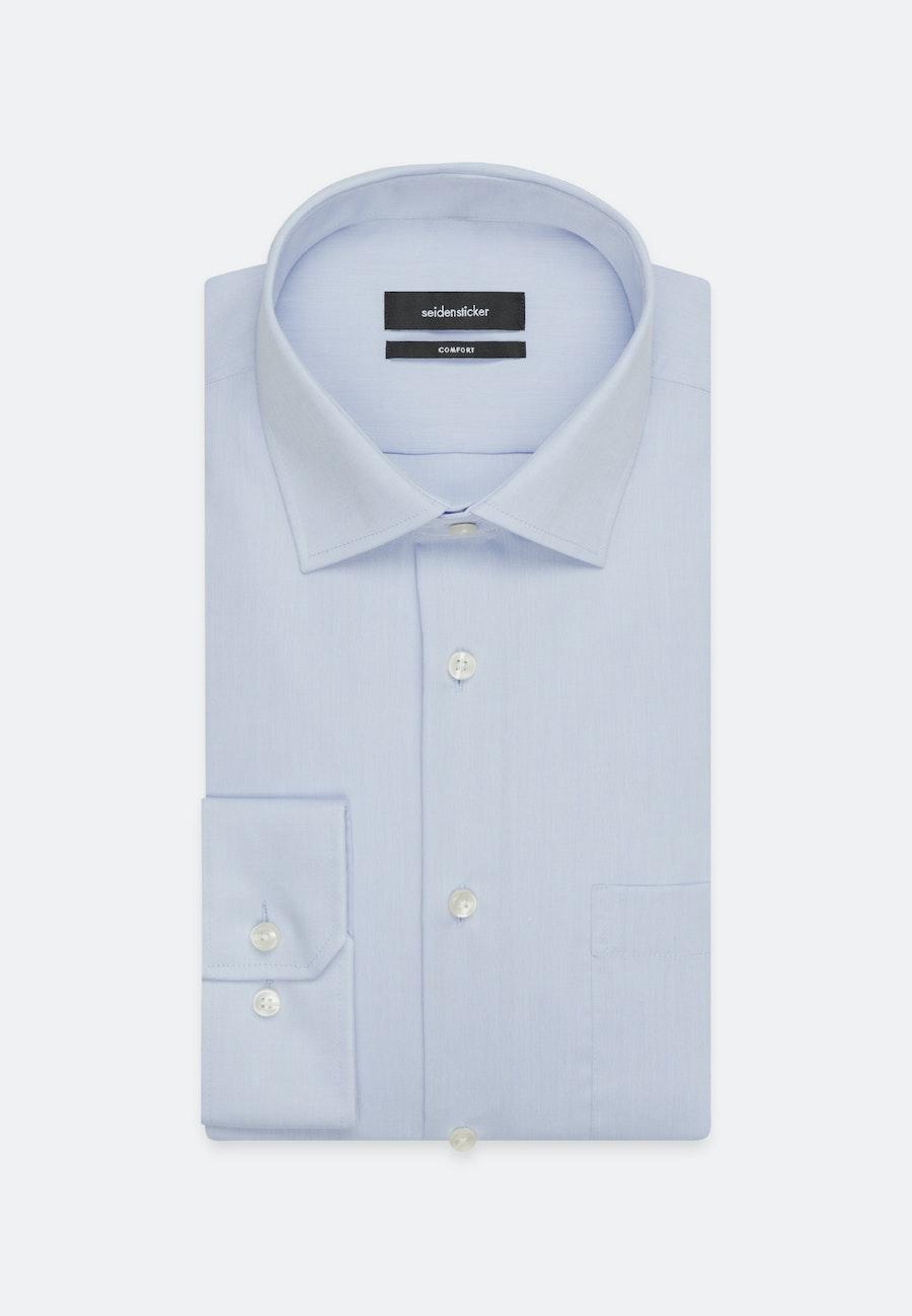 Bügelfreies Chambray Business Hemd in Comfort mit Kentkragen und extra langem Arm in Mittelblau    Seidensticker Onlineshop