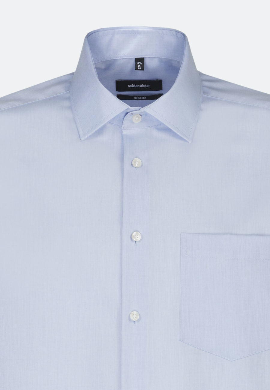 Non-iron Chambray Business Shirt in Comfort with Kent-Collar and extra long sleeve in Medium blue |  Seidensticker Onlineshop