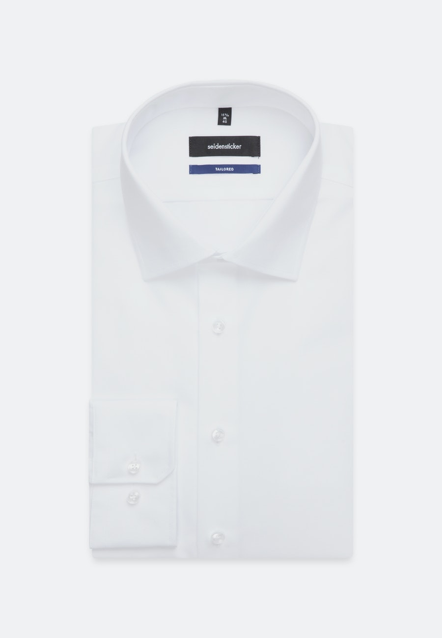 Non-iron Poplin Business Shirt in Shaped with Kent-Collar and extra short sleeve in White    Seidensticker Onlineshop