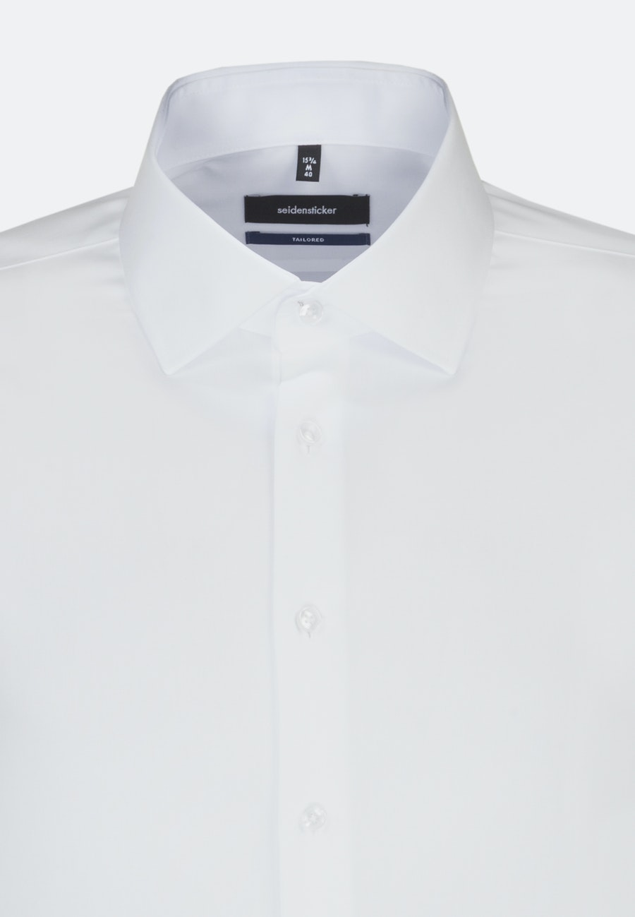 Non-iron Poplin Business Shirt in Shaped with Kent-Collar and extra short sleeve in White |  Seidensticker Onlineshop