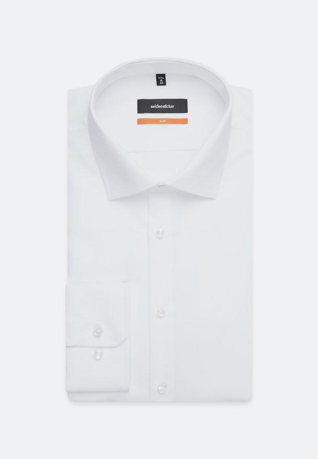 Bügelfreies Popeline Business Hemd in Slim mit Kentkragen und extra kurzem Arm in Weiß |  Seidensticker Onlineshop