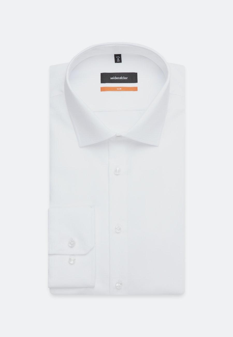 Bügelfreies Popeline Business Hemd in Slim mit Kentkragen und extra kurzem Arm in Weiß    Seidensticker Onlineshop