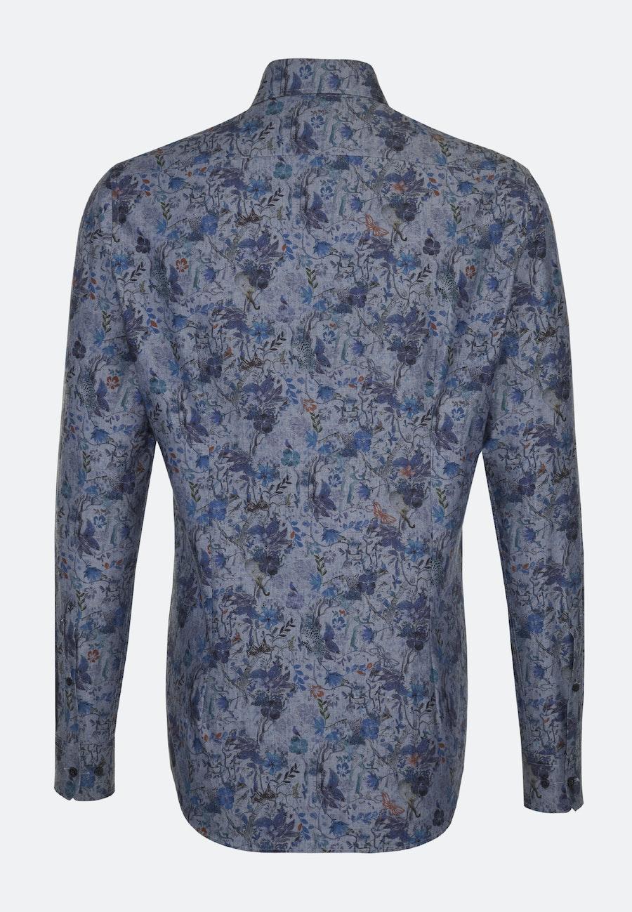 Bügelleichtes Popeline Business Hemd in Shaped mit Covered-Button-Down-Kragen in Dunkelblau |  Seidensticker Onlineshop
