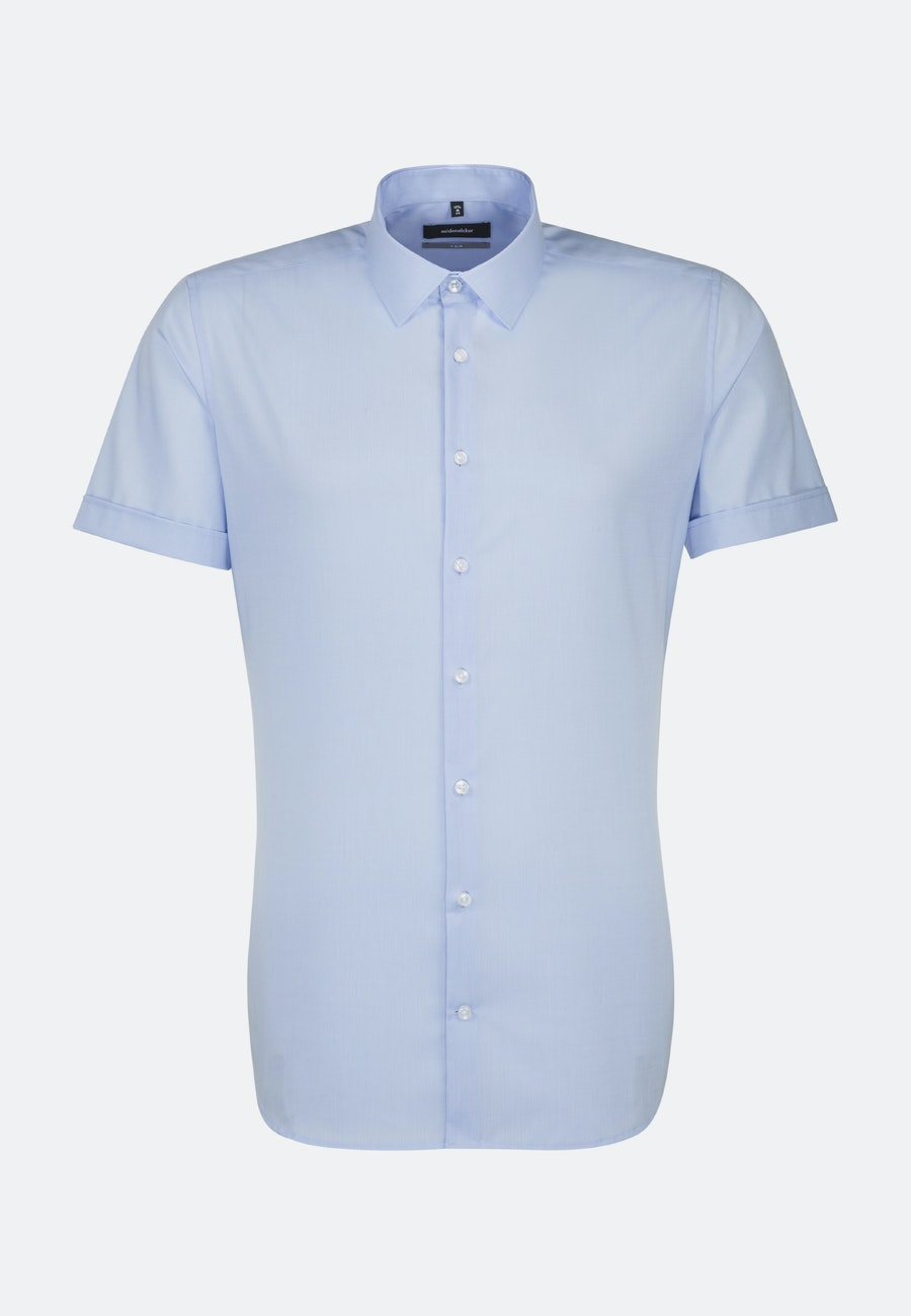 Non-iron Popeline Short sleeve Business Shirt in X-Slim with Kent-Collar in Light blue |  Seidensticker Onlineshop