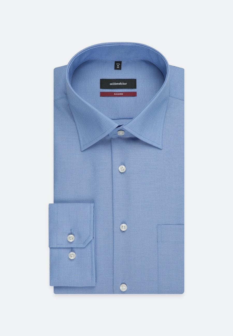 Bügelfreies Popeline Business Hemd in Regular mit Kentkragen und extra langem Arm in Mittelblau |  Seidensticker Onlineshop