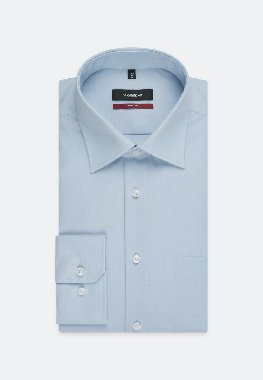 Non-iron Popeline Business Shirt in Regular with Kent-Collar and extra long sleeve in Hellblau |  Seidensticker Onlineshop