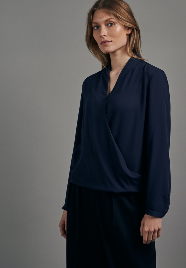 Krepp Wraparound Blouse made of 100% Polyester in Dark blue |  Seidensticker Onlineshop