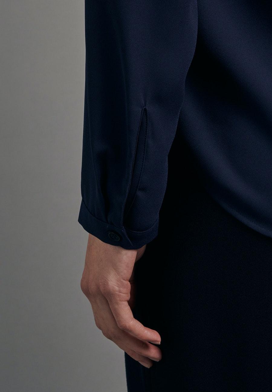 Krepp Wickelbluse aus 100% Polyester in Dunkelblau |  Seidensticker Onlineshop