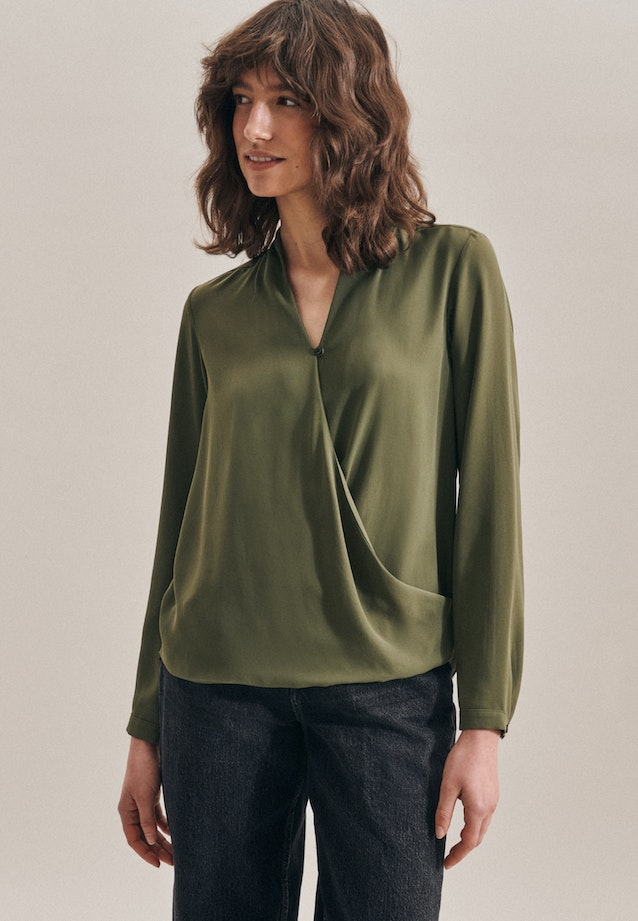 Krepp Wraparound Blouse made of 100% Polyester in Green |  Seidensticker Onlineshop