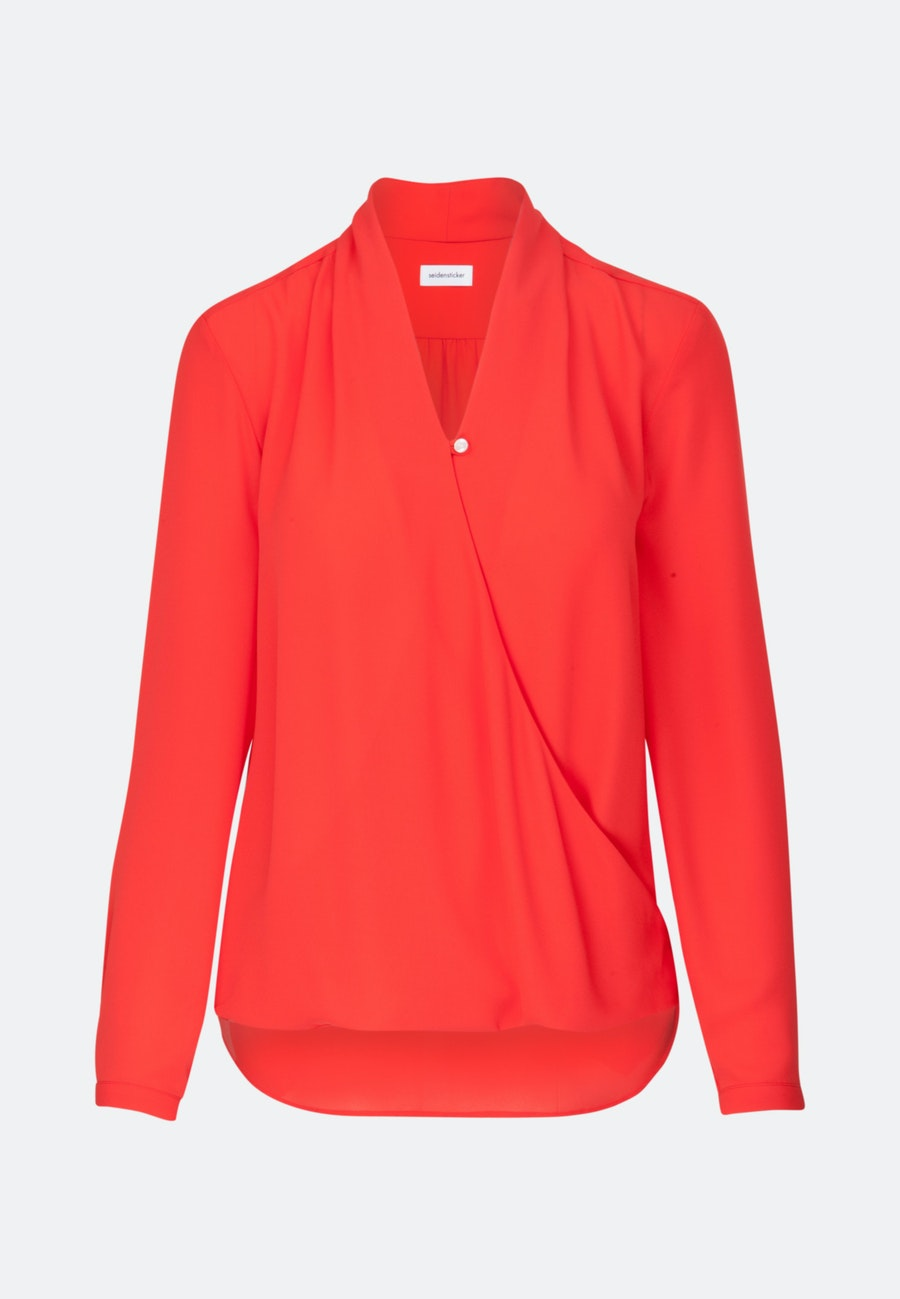 Crepe Wraparound Blouse made of 100% Polyester in Red |  Seidensticker Onlineshop