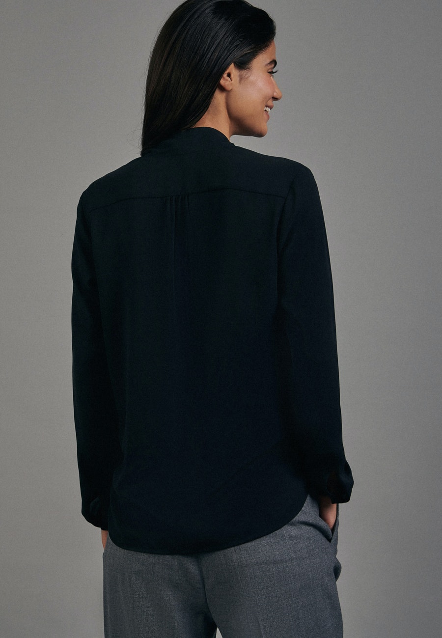 Krepp Wickelbluse aus 100% Polyester in Schwarz |  Seidensticker Onlineshop