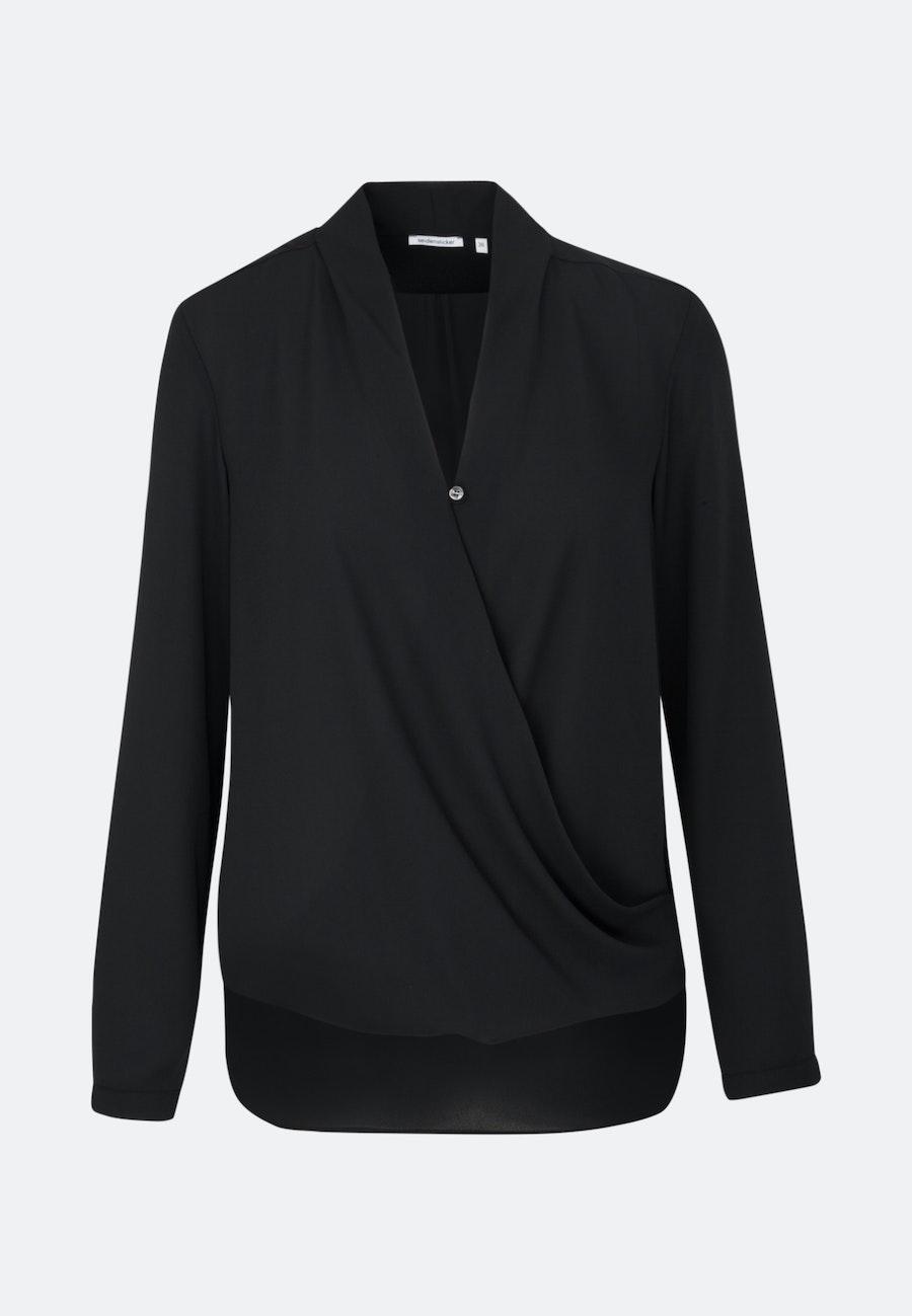 Crepe Wraparound Blouse made of 100% Polyester in Black |  Seidensticker Onlineshop