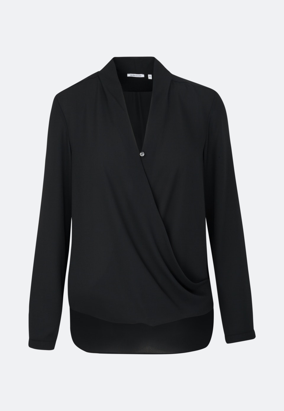 Krepp Wraparound Blouse made of 100% Polyester in Black |  Seidensticker Onlineshop