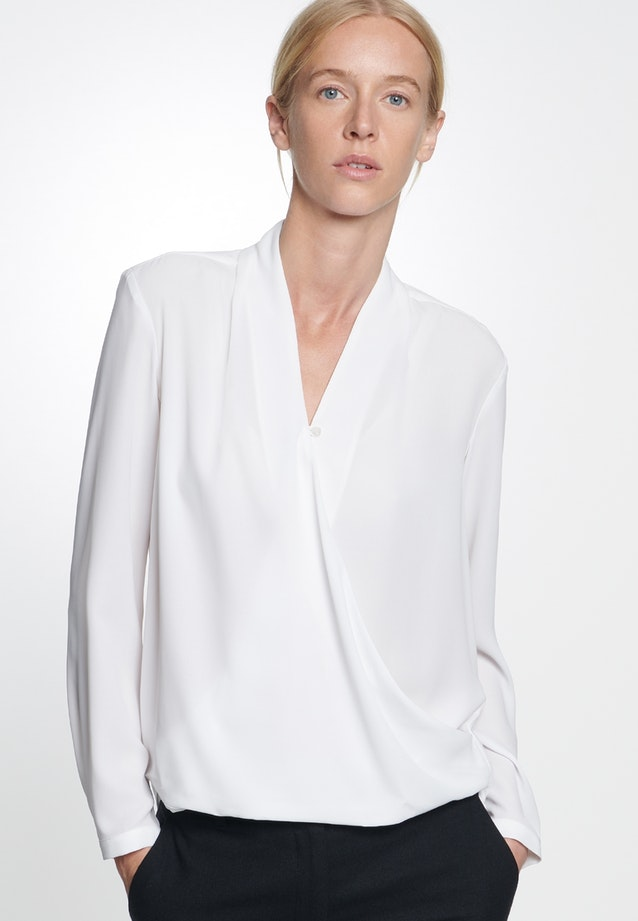 Crepe Wraparound Blouse made of 100% Polyester in White |  Seidensticker Onlineshop