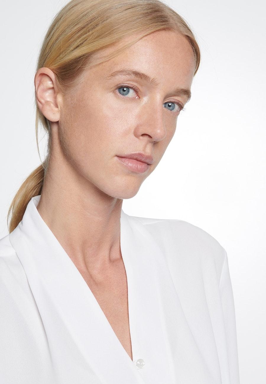 Crepe Wraparound Blouse made of 100% Polyester in White    Seidensticker Onlineshop