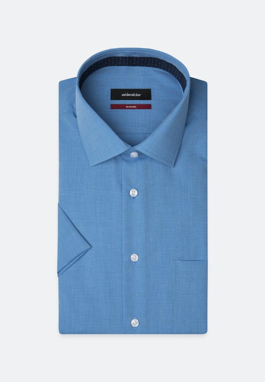 Bügelfreies Fil a fil Kurzarm Business Hemd in Regular mit Kentkragen in Blau    Seidensticker Onlineshop
