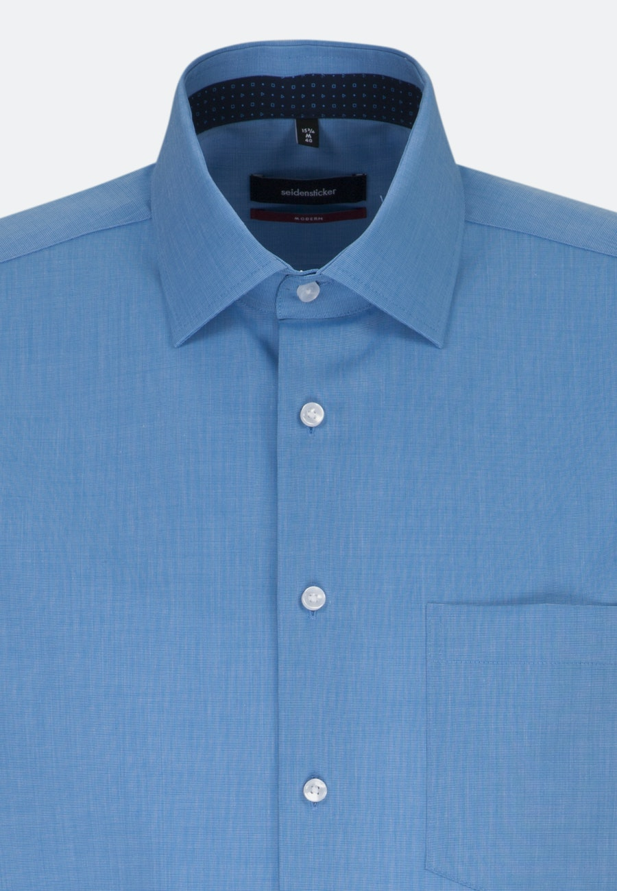 Non-iron Fil a fil Short sleeve Business Shirt in Regular with Kent-Collar in Blau |  Seidensticker Onlineshop